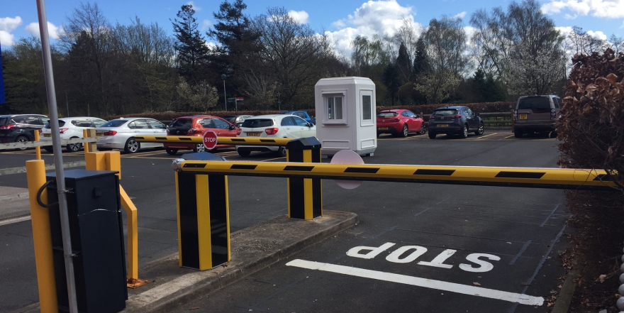 Automatic barriers in car park
